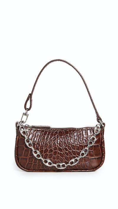 Mini Rachel Nutella Croco Embossed Bag