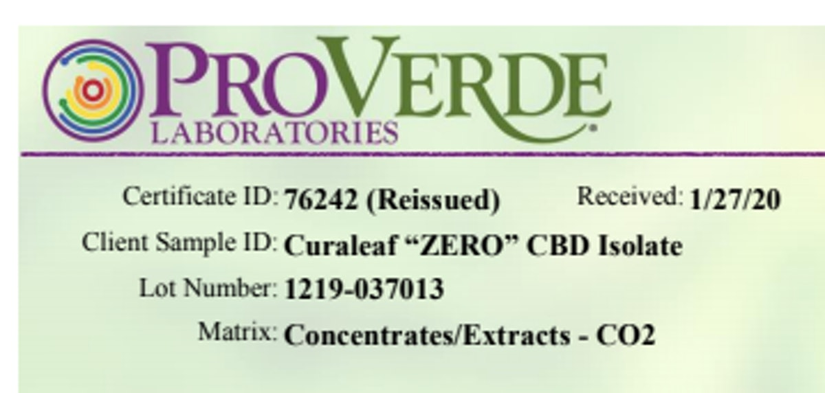 COA showing batch or lot number of CBD tested, which should match the batch or lot number printed on...