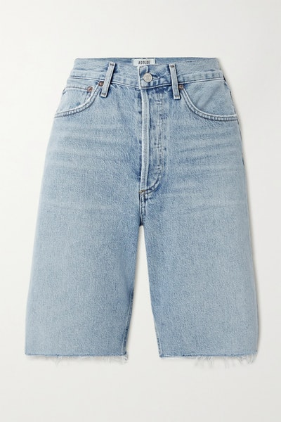 '90s frayed denim shorts