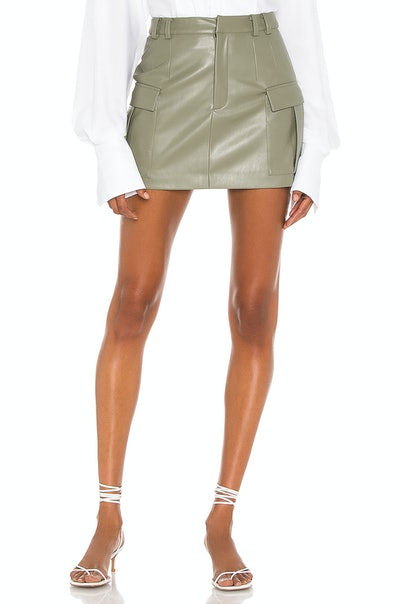 Vegan Leather Cargo Mini Skirt