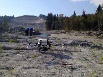 A small drone that was part of a study from Murphy and her team at CRASAR.