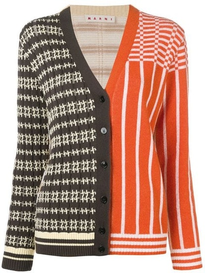 Panelled patterned knit cardigan