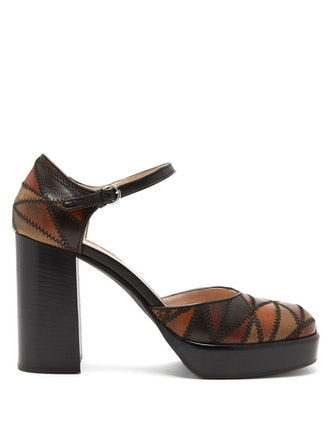 Mary Jane Patchwork-Leather Pumps