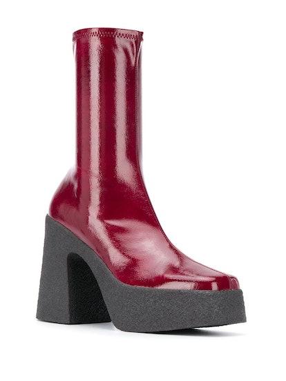 Square-Toe Platform Boots