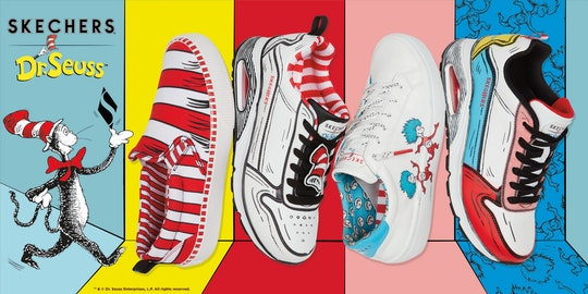 Dr. Seuss Cat in the Hat and four pairs of Skechers sneakers feauring Dr. Seuss characters