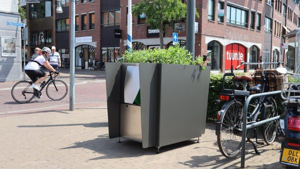 The planter-style GreenPee urinal on the streets of Amsterdam