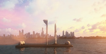 SpaceX's concept art of an ocean-based spaceport.