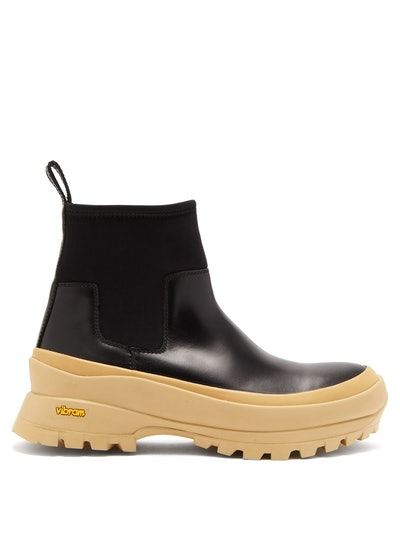 Leather And Scuba-Jersey Ankle Boots