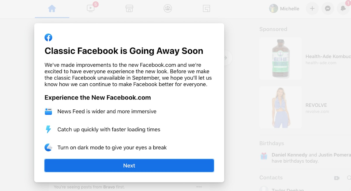 Facebook's classic design is going away. Here's what to know about Facebook's 2020 design.