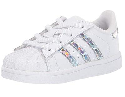Adidas Originals Kids' Superstar Elastic Sneaker in White/Collegiate Burgundy/Gold Metallic