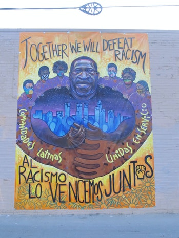 """""""Together We Will Defeat Racism"""" mural from Minneapolis"""