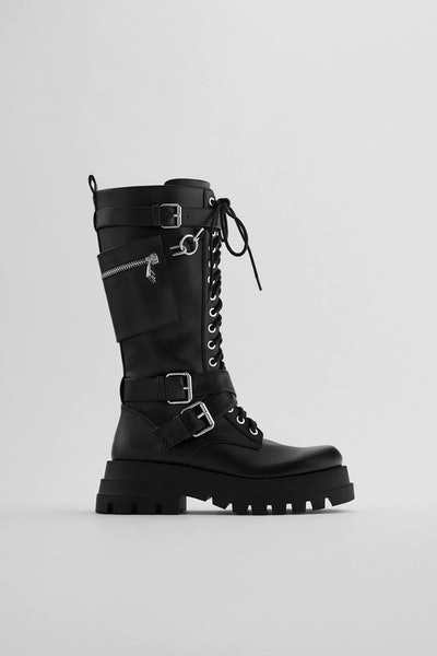 HIGH SHAFT LACED BOOTS WITH POCKET