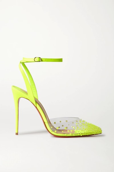 Spikaqueen 100 Neon Crystal-Embellished PVC And Leather Pumps