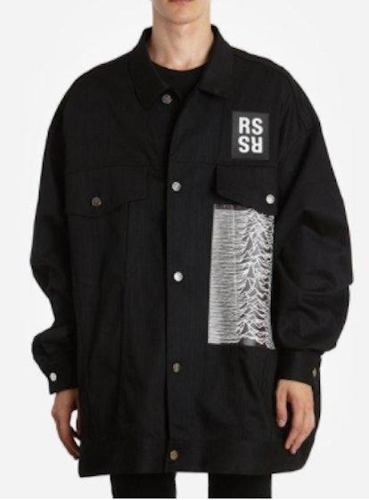 Men's Black Joy Division And Peter Saville Printed Denim Jacket