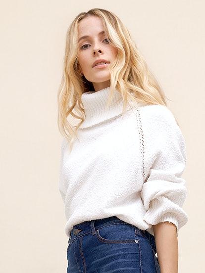 Cutout Detail Turtleneck Sweater