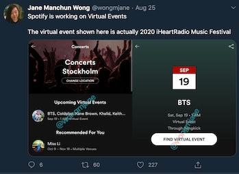 Spotify Virtual Events leak Twitter