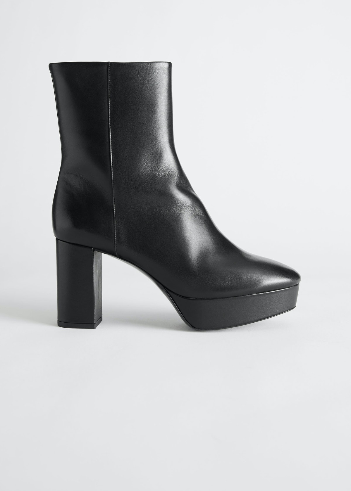 Leather Platform Heeled Ankle Boots