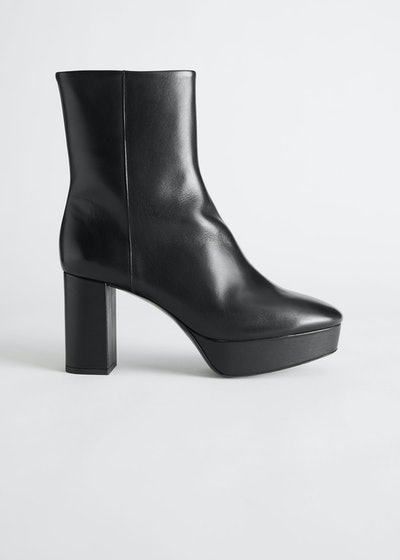 Leather Platform Heeled Ankle Boots