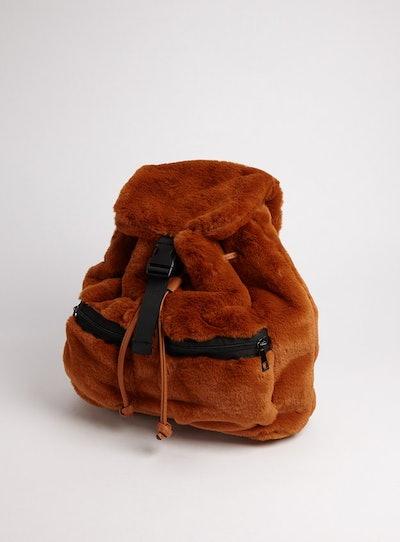 Brown Faux Fur Backpack