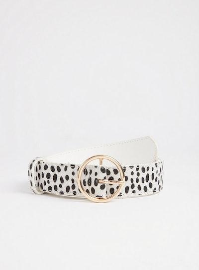 Dalmatian Print Faux Fur Belt