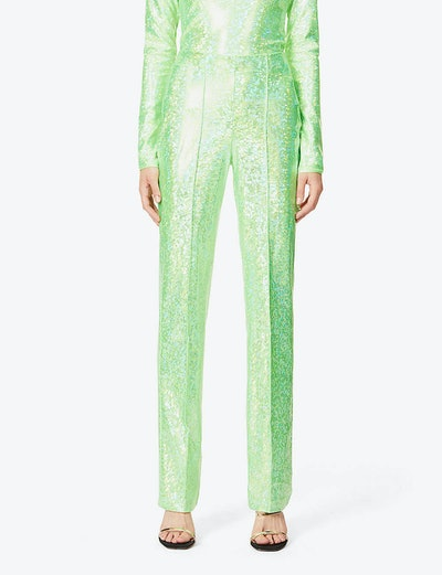 Lissi reflective-print high-rise stretch-jersey trousers