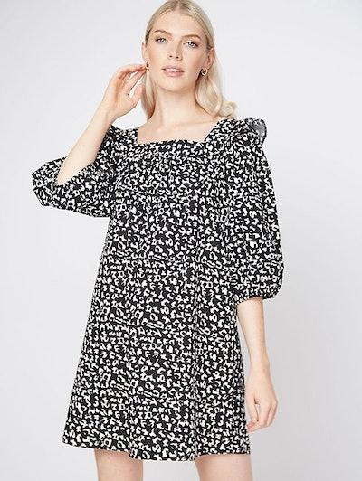 Black Leopard Print Poplin Balloon Sleeve Mini Dress