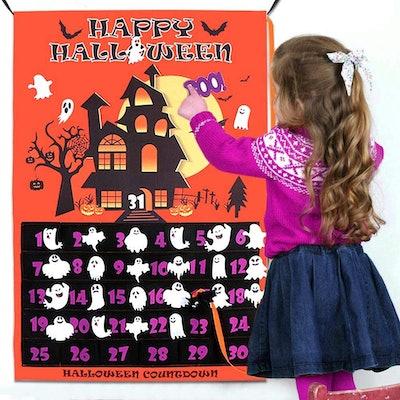 OurWarm Halloween Advent Calendar 2020, 31 Days Halloween Countdown Calendar with 30pcs Detachable Ghosts
