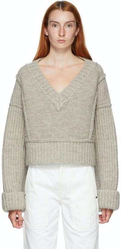 Grey 'La Maille Cavaou' V-Neck Sweater