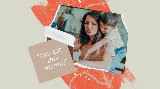 """A mom looks at her laptop with her young son hanging on her back. Also pictured: an illustrated square stating. """"You got this mama!"""""""