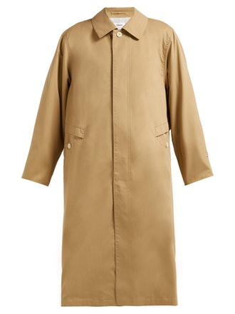 Peach single-breasted cotton-twill trench coat