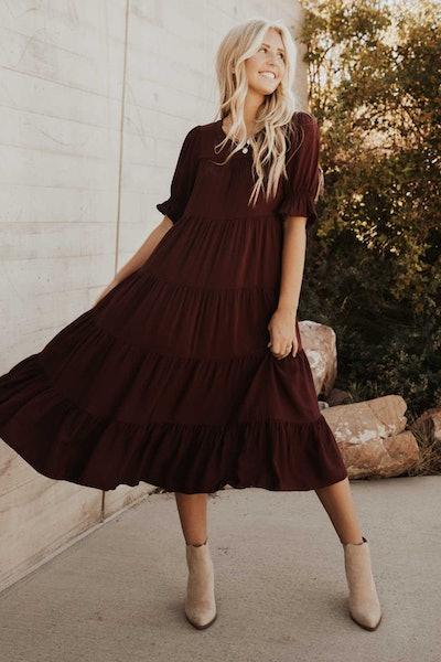 Sunshine Tiered Midi Dress in Plum