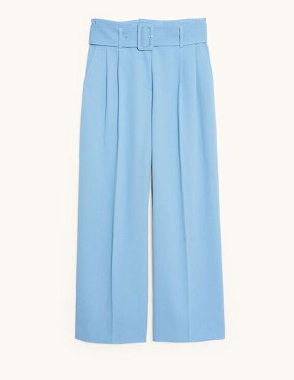 Wide-leg pants with a belt
