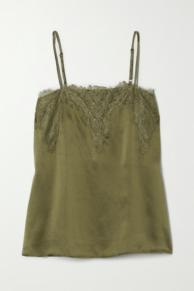 The Sweetheart Lace-Trimmed Silk-Charmeuse Camisole