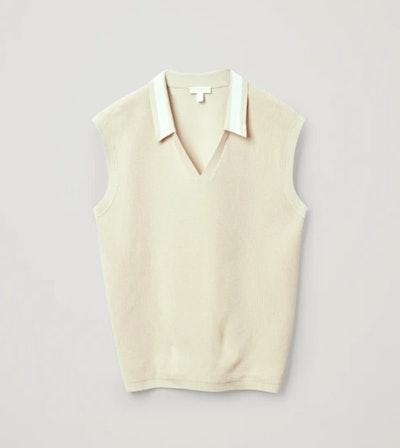 Organic Cotton Contrast Collar Sweater Vest