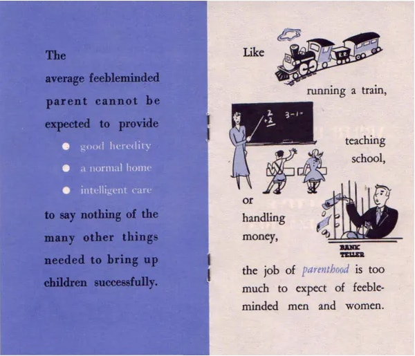 A pamphlet extolling the benefit of selective sterilization published by the Human Betterment League of North Carolina, 1950.