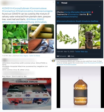 A collection of tweets containing misinformation about COVID-19 cures is pictured.