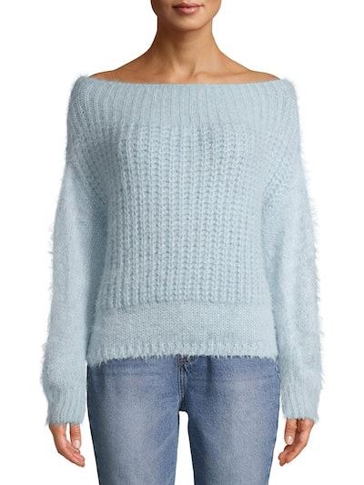 Off-the-Shoulder Eyelash Sweater