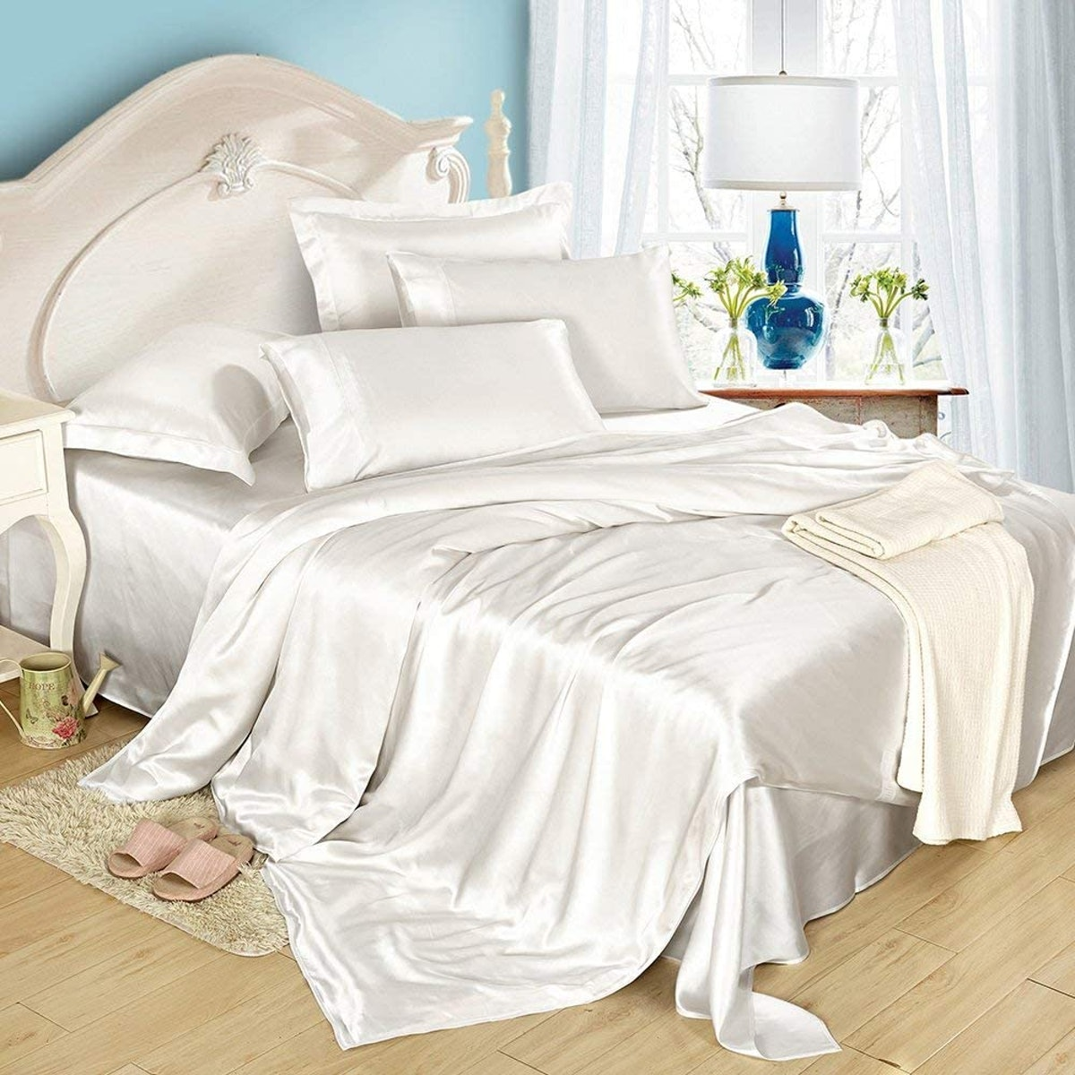 LilySilk 4Pcs Silk Bed Sheets