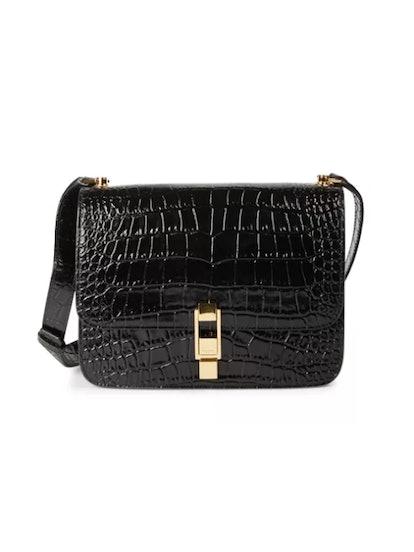Carre Croc-Embossed Leather Shoulder Bag