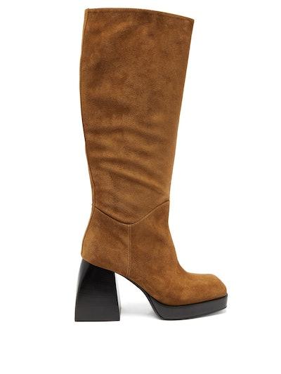 Bullia Knee-High Suede Platform Boots