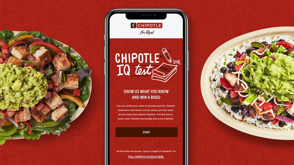 Chipotle is giving customers the chance to score a BOGO promo with their new IQ test.