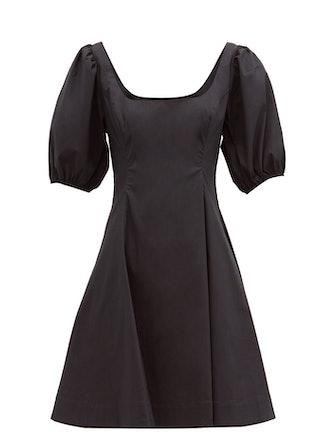Laelia balloon-sleeve cotton-blend poplin dress