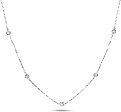 Metal Factory Round Cut Cubic Zirconia Chain Necklace