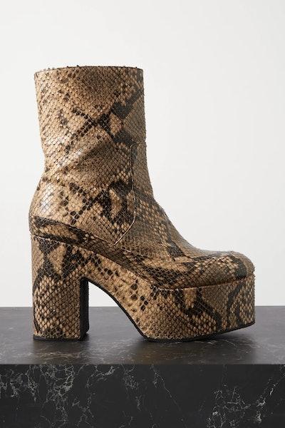 Snake-Effect Leather Platform Ankle Boots