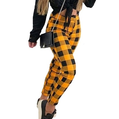 Lallc Women's Plus Size High Waist Plaid Casual Pants Skinny Work Stretch Trousers