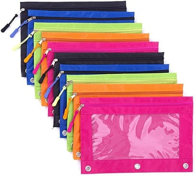 Binder Pencil Pouch with Zipper Pulls 10-Pack