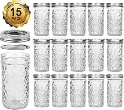 Mason Jars 12 OZ, VERONES Canning Jars Jelly Jars With Regular Lids