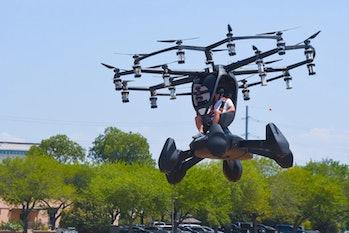 LIFT CEO Matt Chasen piloting a Hexa for military leaders.