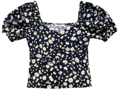 Feminine Wiles Navy Blue Floral Top