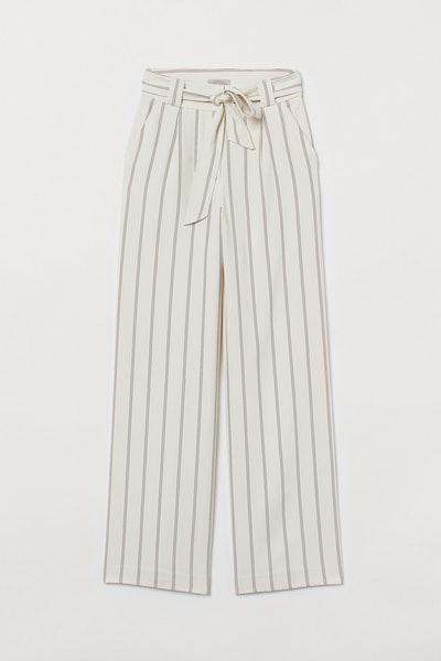 Wide-Cut Tie-Belt Pants